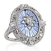 Xavier Absolute™ Oval Blue Frosted Crystal Sterling Silver Oval Ring