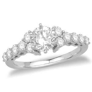 14k White Gold Round Diamond Engagement Ring with Round Sidestones (3