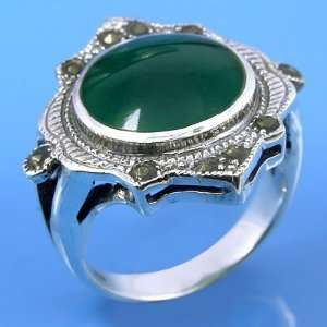 & Green Agate Ring Size # 7.5  Arts, Crafts & Sewing
