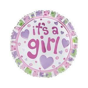 Girl Pink With Purple Hearts 18 Mylar Foil Baby Shower Party Balloon