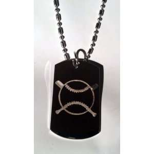 Baseball Cross Bat Sports Logo Symbols   Military Dog Tag Luggage Tag