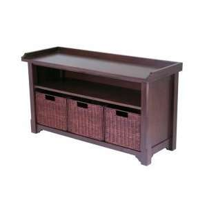 Winsome Bench with Storage Shelf and Baskets
