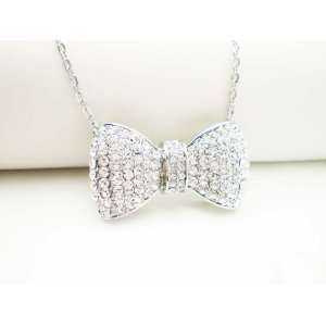 LARGE SILVER PAVE CRYSTAL BOW RIBBON NECKLACE Arts, Crafts & Sewing