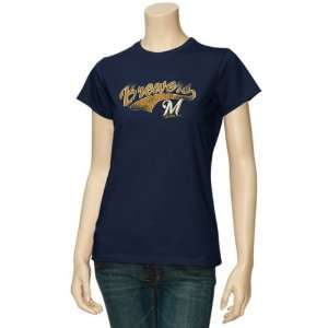 Milwaukee Brewers Ladies Navy Blue Distressed Arched Logo T shirt