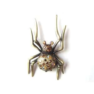 Inspired Austrian Topaz Crystal Rhinestone Spider Fashion Pin Brooch