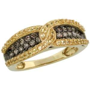 14k Gold Knotted Loop Ring, w/ 0.65 Carat Brilliant Cut Fancy Brown