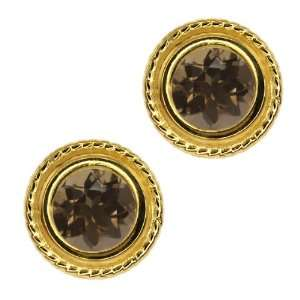 Brown Smoky Quartz Gold Plated Silver bezel Stud Earrings 6mm Jewelry