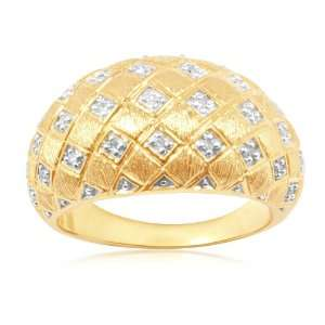 18k Gold Plated Sterling Silver Diamond Brushed Finish Ring (1/10 cttw