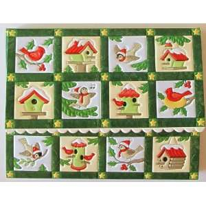 Christmas Bird and Birdhouse Quilt Note Card Set 10 Ct