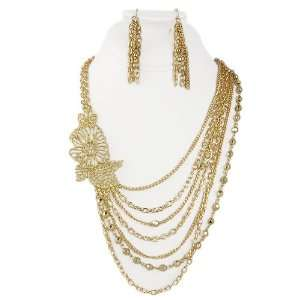 Goldtone Beaded Chain Flower Layer Necklace Earring Set