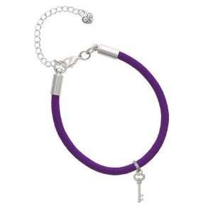 AB Swarovski Crystals Oval Key Charm on a Purple Malibu Charm Bracelet