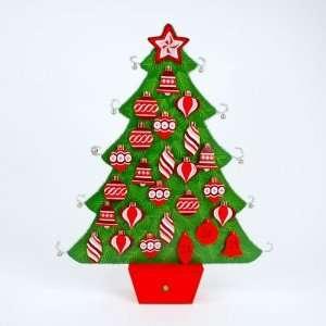 WOOD TINSEL CHRISTMAS TREE ADVENT CALENDAR 25 Table Top