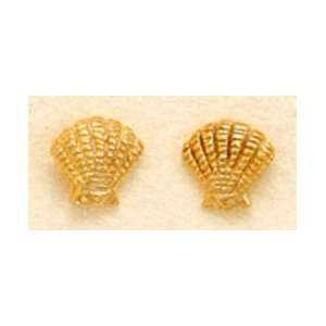 Gold Plated Sterling Silver Clam Shell Post Stud Earrings, 1/4 inch