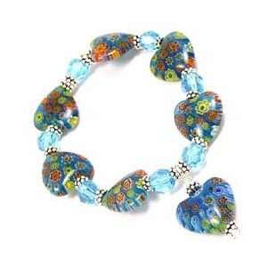 Murano HEARTS Glass Flowers BLUE Bracelet AQUA Arts, Crafts & Sewing