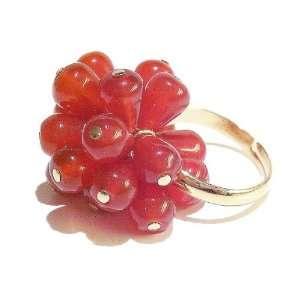 Cat Jewellery Store Fire Carnelian Cluster Ring   Adjustable Jewelry