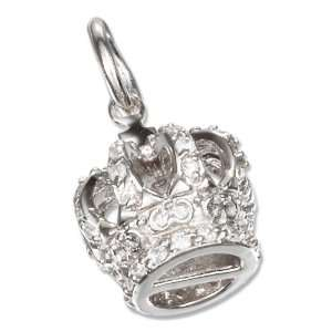 Sterling Silver 3D 12x13mm Pave Cubic Zirconia Crown Charm Jewelry