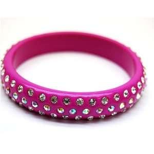 Pink Swarovski Crystal Bangle Bracelet
