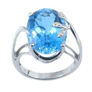 Sterling Silver Oval Cut Blue Cubic Zirconia Ring, Size 6