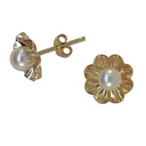 14K Yellow Gold Fine Quality Saltwater White Pearl Earrings with