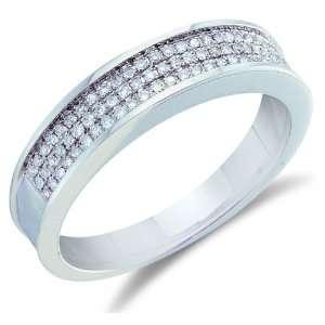 Size 5   10K White Gold Diamond Three Rows MENS Wedding Band Ring   w
