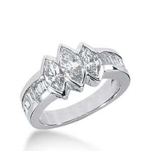 14K Gold Diamond Anniversary Wedding Ring 3 Marquise