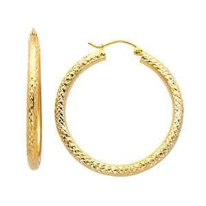 14K Yellow Gold 3mm Thickness Diamond Cut High Polished Fancy Cut Hoop