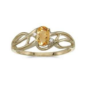 10k Yellow Gold Oval Citrine And Diamond Curve Ring (Size 10) Jewelry