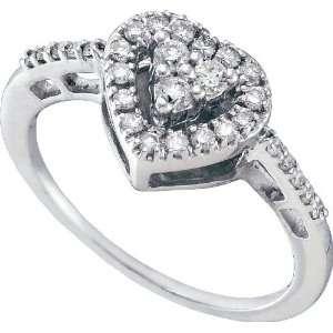 14k. White Gold Diamond Heart Promise Ring 1/3 Ctw  Size