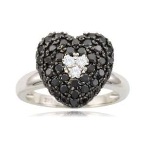 10k White Gold Heart Black and White Diamond Ring (1 1/8