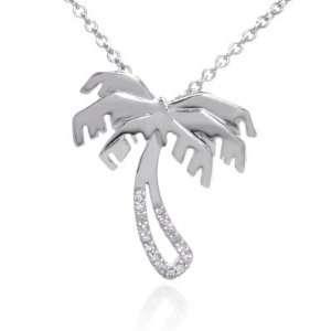 14K White Gold Diamond Palm Tree Pendant w/ Necklace Jewelry