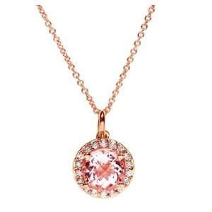 Pink Gold Natural Morganite & Diamond Drop Pendant Ct.tw 2.65 Jewelry
