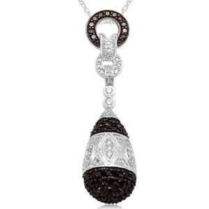 10k White Gold Black and White Drop Diamond Pendant (3/4