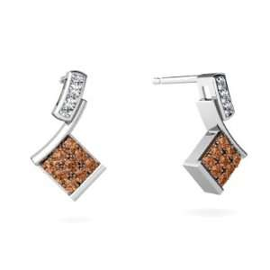 14K White Gold Cognac Diamond Drop Earrings Jewelry