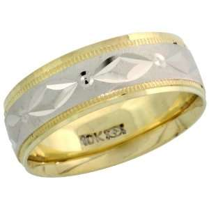 10k 2 Tone Gold Ladies Comfort Fit Diamond Cut Ring, 1/4 (6mm) wide