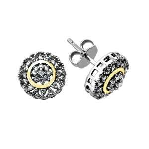 Silver and 14k Yellow Gold Flower Diamond Stud Earrings Jewelry