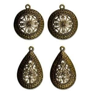 Cousin Jewelry Basics 4 Piece Antique Gold Filigree Drop