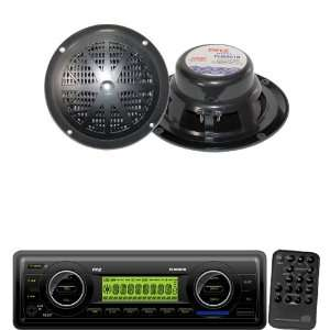 Marine Radio Receiver and Speaker Package   PLMR87WB AM/FM MPX IN Dash