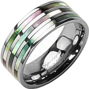 Size 12 Spikes Titanium Triple Abalone Ring Jewelry