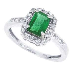 1.10Ct Emerald Cut Genuine Emeraldand Diamond Ring in 14Kt
