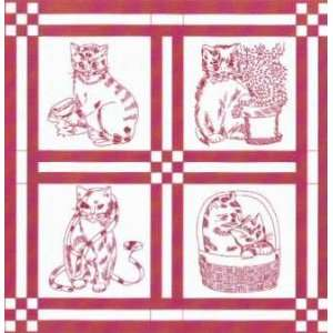 PT2165 4 Redwork Cats #911 Hot Iron Transfer Pattern by