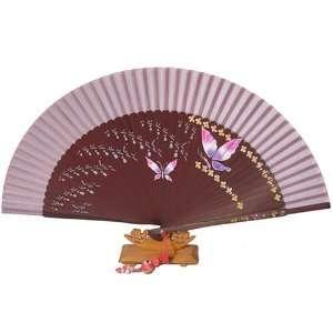 Silver J Folding hand fan with mahogany bamboo and pink silk, handmade