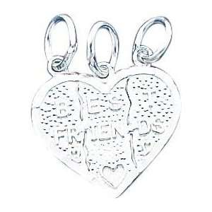 Silver Best Friend Break Apart Heart Charm & 18 Chain Jewelry