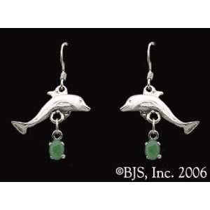 Dolphin Gemstone Earrings, 14k White Gold, Jade set gemstone, Dolphin