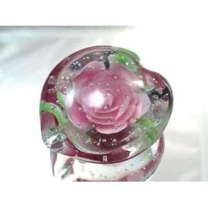 100% Mouth Blown Glass Art Pink Rose Series Handmade Art Glass
