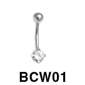 14k Navel Body Jewelry with Cubic Zirconia (white gold) Jewelry