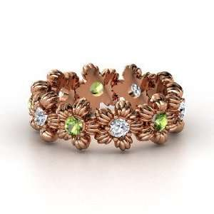 Lei Eternity Ring, 14K Rose Gold Ring with Green Tourmaline & Diamond