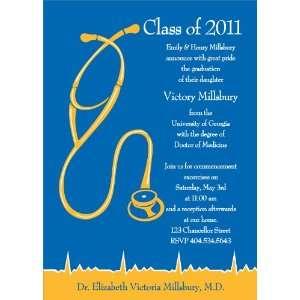 Med School Graduation   Royal & Bright Gold Graduation Invitations