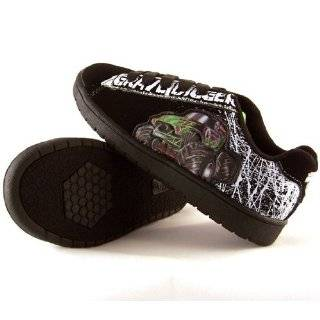 Monster Jam Grave Digger Boys Athletic Black Suede Shoes