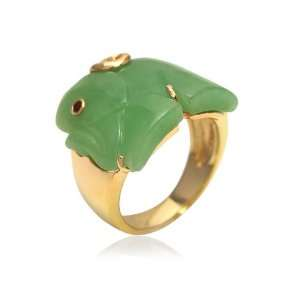 Sterling Silver Green Jade and Garnet Elephant Ring, Size 7 Jewelry