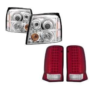 03 06 Cadillac Escalade Chrome CCFL Halo Projector Headlights + LED